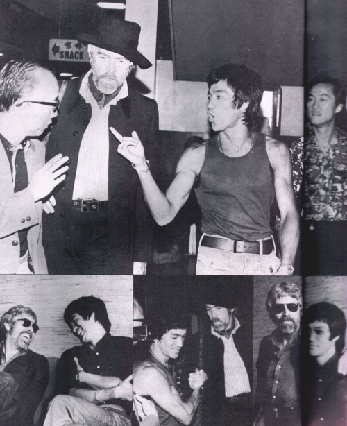 Bruce Lee, James Coburn and Raymond Chow at Airport